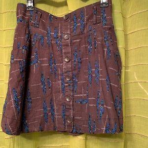 Free people brown/ Blue skirt. Med